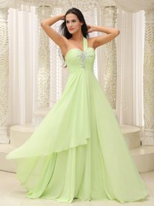 Yellow Green One Shoulder and Ruched Prom Gown Dresses for Summer