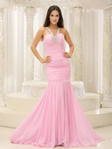 Mermaid V-neck Beaded Decorate Shoulder Prom Gown Dresses Ruched