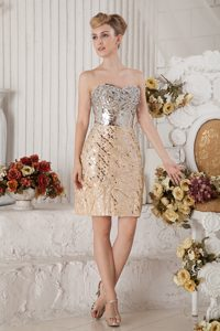 Champagne Column Sweetheart Prom Gown Dress Beaded Mini-length for Summer