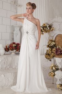 2015 White Empire One Shoulder Prom Gown Dress Brush Train Chiffon Beaded