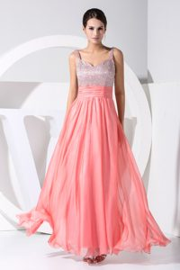 Pink and Sliver A-line Sequin Straps Prom Gown Dress Chiffon Ankle-length