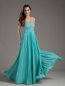 Beautiful Turquoise Empire Strapless Prom Gown Dress Long Beaded