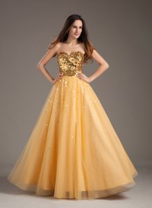 Beautiful Luxurious A-line Prom Gown Dress Sweetheart in Gold with Tulle On Sale