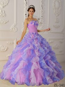 Multicolor and Ruffled Quinceanera Dress with Hand Made Flowers