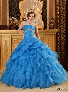 Popular Blue Beaded Quinceanera Dress with Ruffles on Promotion