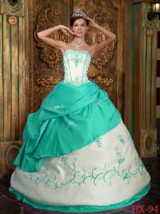 Green Strapless Quinceanera Dress with Embroidery on Wholesale Price