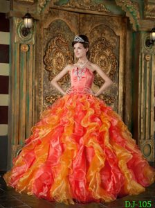 Orange Red Strapless Quinceanera Dress with Ruffled Layers on Sale