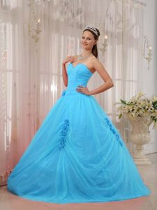 Pretty Blue Sweetheart Tulle Beaded Sweet 16 Quinceanera Dress for Cheap