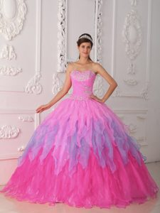 Sweet Baby Pink Sweetheart Beaded and Ruched Quinceanera Dress