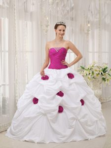 Fuchsia and White Strapless Quinceanera Dress with Hand Made Flower