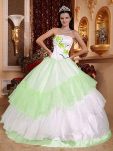 Light Green and White Strapless Quinceanera Dress with Embroidery