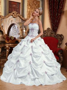 New White Strapless Quinceanera Dress with Appliques and Pick-ups