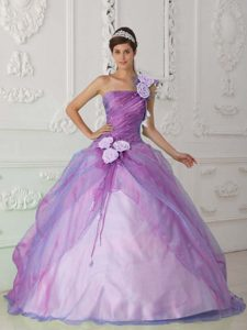 Lilac Beaded Long Wonderful Quinceanera Gown Dress with Flowers