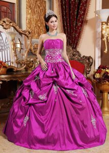 Fuchsia Strapless Sweet Sixteen Quinceanera Dress with Appliques for Fall