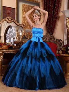 Strapless Long Tulle Wonderful Quinceanera Gowns with Bowknot