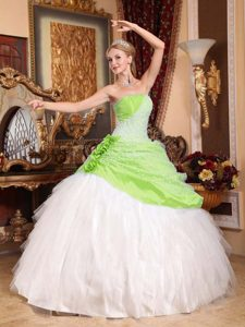 2014 Yellow Green and White Lace-up Tulle Sweet Quince Dresses under 250