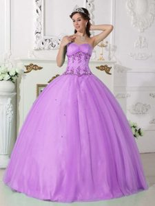 Wonderful Lilac Beaded Quinceanera Gown for Fall