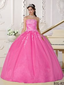 Discount Strapless Long and Tulle Quince Dresses in Pink