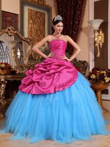 Fashionable Beaded Lace-up Dress for Quince in Hot Pink and Blue