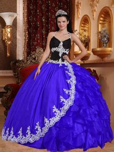 Discount Blue and Black V-neck Dress for Quince with Appliques