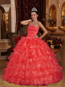 Strapless Coral Red Sweet Sixteen Quinceanera Dress with Ruffles