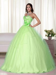 Sweetheart Yellow Green Tulle Sweet Sixteen Quinceanera Dresses for Fall