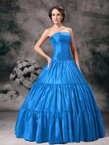 Beautiful Strapless Long Ruched Sweet 15 Dress in Aqua Blue