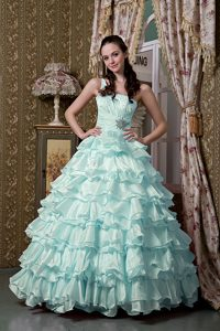 Baby Blue A-line One Shoulder Wonderful Quinceanera Dress with Ruffles