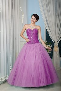 Discount Lilac A-line Tulle Beaded Quinceanera Dresses under 200