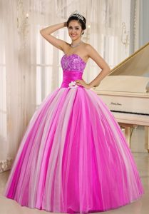 Strapless Tulle Lace-up 2013 Popular Spring Quince Dresses in Multi-color