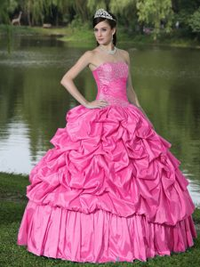 Chic Hot Pink Strapless Pick-ups Beading Quinceanera Gowns