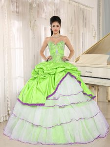 New Spring Green and White Pick-ups Ball Gown Dress for Quinceaneras