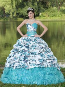 Blue Brush Train Special Print Sweet 16 Quinceanera Dresses