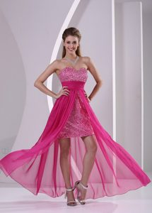 Beautiful Beaded and Ruched High-low Hot Pink Chiffon Prom Dress for Ladies