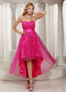 Fashionable Hot Pink High-low Prom Gown Dresses with Sweetheart in Low Price