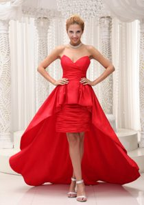 Red High-low and Chiffon Prom Dress Sweetheart Neckline in Low Price