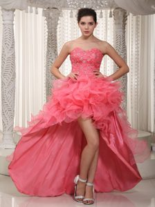 Watermelon High-low and Beaded Prom Dress with Sweetheart