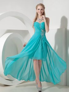 Sweet Turquoise High-low Sweetheart Prom Dress Chiffon Beaded in Low Price