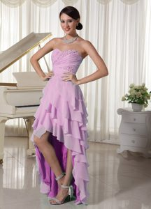 Pink Chiffon Prom Gown Dress High-low with Sweetheart Beading and Ruching