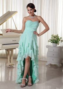 Apple Green Chiffon High-low Prom Dress with Sweetheart Beading and Ruching