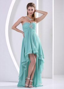 Beautiful Custom Made High-low Prom Dress with Sweetheart Beading and Ruche