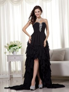 Black High-low Sweetheart Chiffon Prom Dresses with Beading and Brush Train