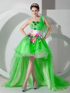 One Shoulder Hot Spring Green Prom Dress High-low with Beading and Appliques