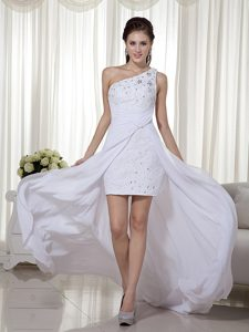 One Shoulder White High-low Prom Gown Dress Column Chiffon with Beading