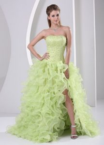 High Slit Beaded and Ruffle Brush Train Prom Dress in Yellow Green