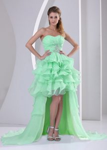 Apple Green High-low Sweetheart Prom Dress with Beading and Ruche