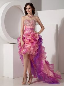 Beautiful Column Prom Dress High-low Beaded with Sweetheart