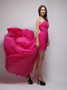 Hot Pink Asymmetrical One Shoulder Prom Gown Dress Chiffon with Beading