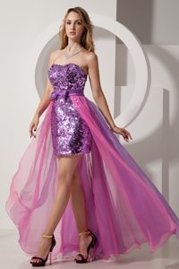 Purple Strapless Sweetheart Prom Gown Dress High-low Sequin and Chiffon
