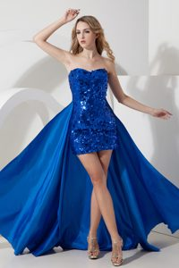 2015 Fashionable Detachable Royal Blue Prom Dress High-low Sweetheart